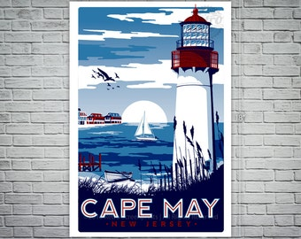 Cape May New Jersey Light House Vintage Travel Poster