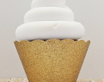 Gold Glitter Cupcake Wrappers, Dessert Holders - Standard and Mini Size - Birthdays Weddings Showers Parties - Dessert Table - Set of 12