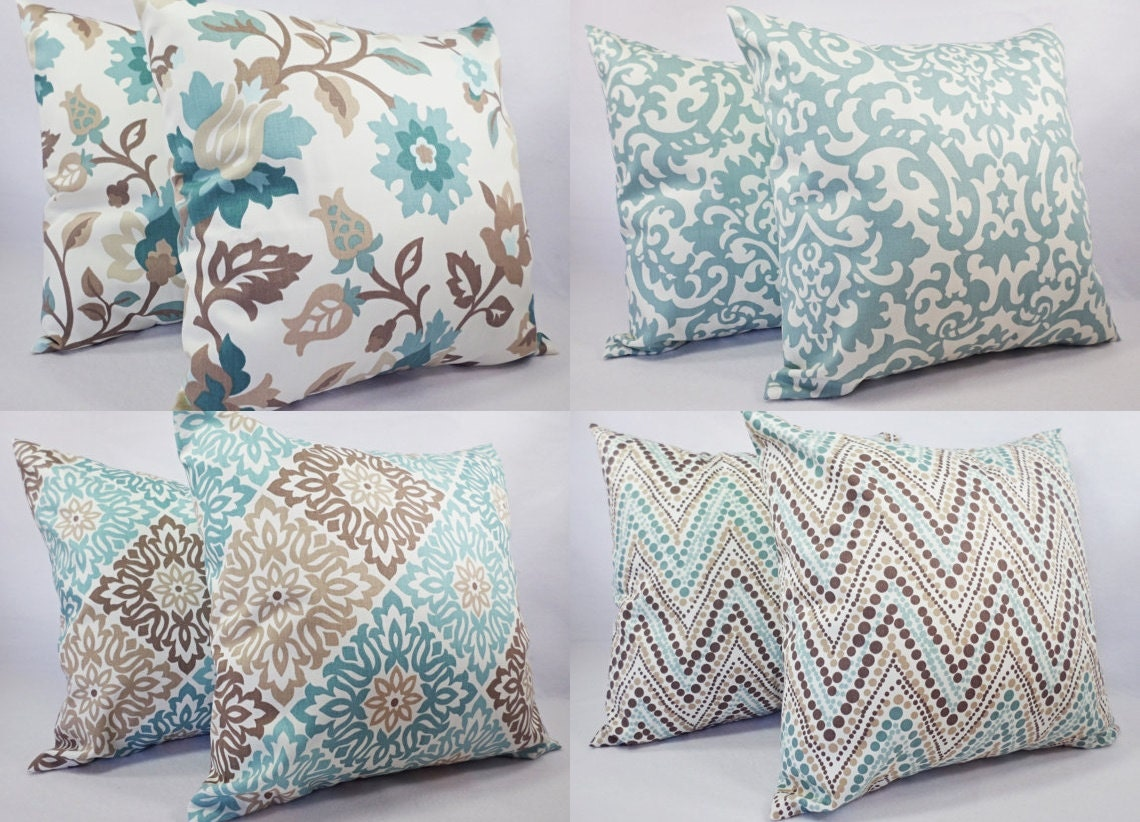 Couch Pillow Cover Blue and Brown Decorative Throw Pillow