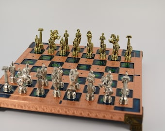 Greek warrior chess set (20X20cm) / Copper chess board