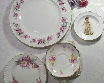 Vintage decorative wall plates, Instant wall art display.  Aynsley, Barratts delphatic, Duchess and Court china plates.