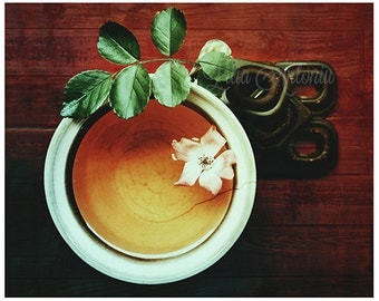 Fine art photography Kitchen wall art decor Food Fine print Tea and Chocolate Brown Rustic Kitchen decor Still Life A cup of Tea Tiny Rose