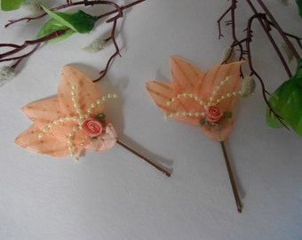 Coral and Pearl Flower Bobby Pins