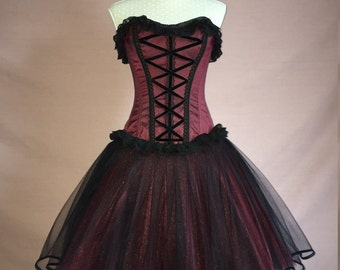Sew Wicked...Overbust Corset and Tulle Goth Prom Dress Custom Made to Order