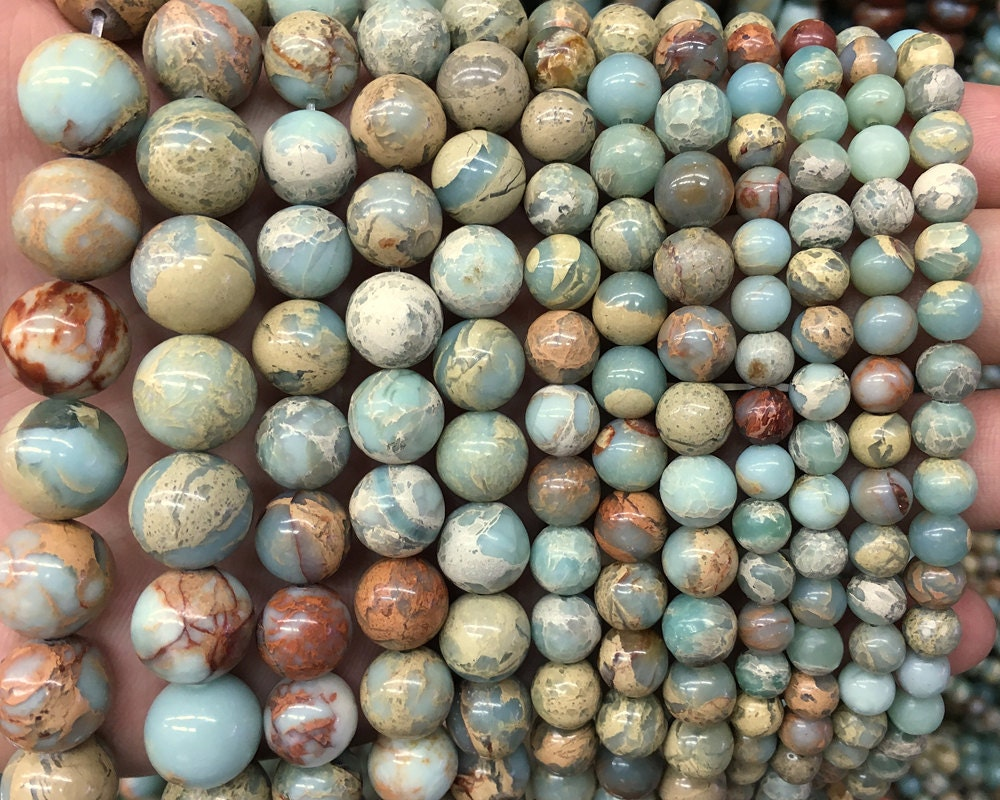 Natural Stone Beads : Natural impression jasper beads green brown gemstone