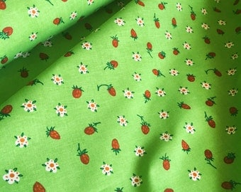 Swedish ikea fabric, strawberry fabric with a mod floral scandinavian pattern in unused condition. Fabric by the yard retro style. Sewing