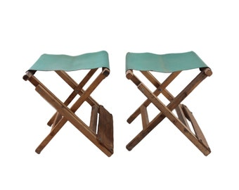 Vintage Wooden Green Cloth Folding Camping Stool Set of 2