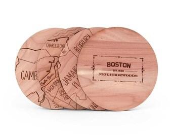 Boston Map Coaster Set