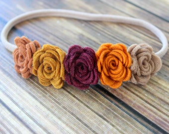 Felt flower headband - Fall flower garland - nylon headband - One size fits most