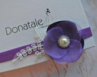 Purple Baby girl headband Flower girl headband Baby Headband,Newborn Headband, Lace Baby Headband,Baby headband, Baby girl headbands