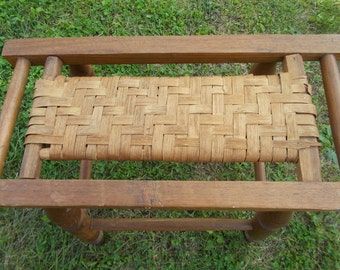 Vintage-Wooden Bench with Wooden Woven Seat at Ancient of Daze