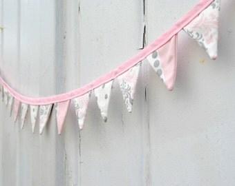 Mini Light Pink Gray Pennant Banner Fabric Bunting