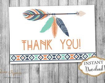 INSTANT DOWNLOAD - Navy Orange and Mint Tribal Thank You Card - Tribal Feather Aztec Thank You Note - Tribal Arrows Pow Wow - 0140 - 0189
