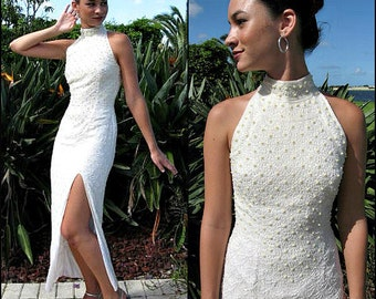 BRIDAL Beaded Gown / Vintage Beaded Wedding Gown / fits XS / Pearl Beaded Wedding gown / 80s Bridal Beaded Silk Chiffon Gown