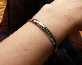 Etched Sterling Bangle Cuff Bracelet