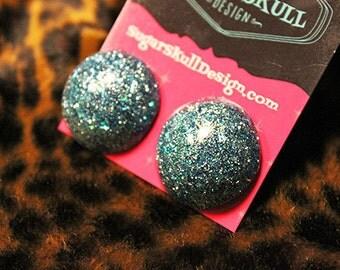 Blue Sparkle Resin Post Earrings - Medium Circle Shape