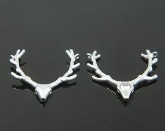 Deer antler charm, P4-R3, 2 pcs, 23x22mm, Matte rhodium plated brass, Jewelry making