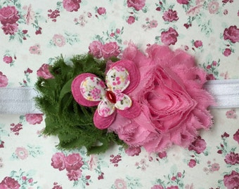 Beautiful Butterfly Infant/Children's Headband: Green & Pink Flowers w/a Butterfly accent on a White headband Infant, Toddler, Girl