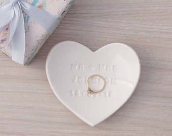 Personalised Heart Wedding Ring Dish