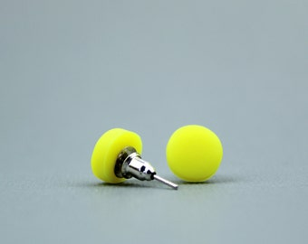 Neon yellow studs, Neon yellow earrings, Fluorescent studs,  Neon Yellow jewellery, Festival earrings, Fluro studs, Bright yellow earrings