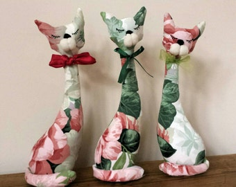 Roseberry The Sleeping Cat Art Doll - Fabric Cat  -  Cat Art Doll, Cat Soft Toy -  Cat Decoration- Gift for Cat Lovers - Cat doll