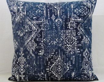Navy Blue Throw Pillow Cover Geometric Decorative Accent Indian 16x16 18x18 20x20 22x22 12x16 12x18 12x20 14x22 Indigo White Zipper