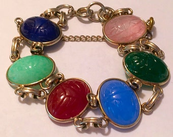 Vintage Silver Tone Egyptian Revival Carved Glass Scarab Bracelet With Safety Chain