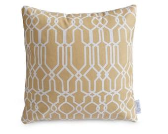 "Beige Geometric OUTDOOR Decorative Cushion Cover WATERPROOF MOROCCAN Lattice Design 16"" 100% Cotton Pillow Case Patio Cushion"
