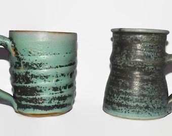 Vintage Clay Mug Set, Matching, Terra Cotta, Handmade Pottery Mug, Ceramic, Creamer Pitcher, Coffee Cup