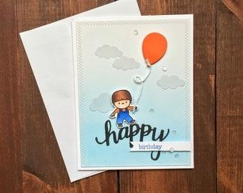 Handmade Birthday Card, Happy Birthday, Cute Birthday Card, Boy Birthday Card, Kid Birthday Card, Baby Birthday Card, Child Birthday Card