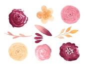 Fall Watercolor Flowers 011, Digital Design, Scrapbooking Supplies, Invitations, Printables, High Resolution, Designer Resources