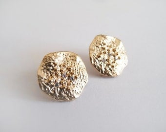 Large Gold Stud Earrings with CZ - Sterling Silver posts - Gift for Her