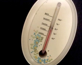 Vintage Bathroom Thermometer Wooden Has Baby Image On Back