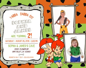 Bam Bam and Pebbles Birthday Invitation for Twins