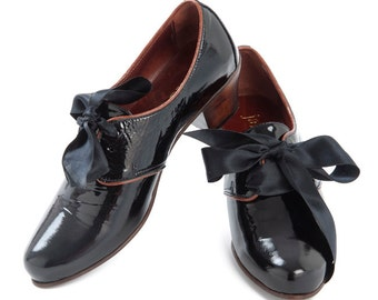 Patent Black Leather Oxfords