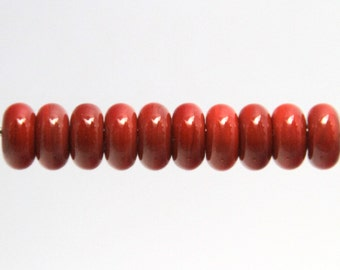 Red Lampwork Glass Bead Spacers Donut MADE TO ORDER