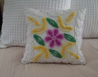 "REDUCED PRICE-Purple And Cream  Flower and Curls Chenille Pillow Cover for 14"" Pillow Insert Was 25.00 Now 20.00"