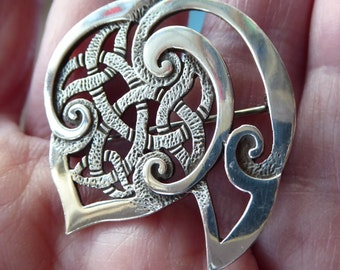 Highly Collectable 1960s OLA GORIE Silver Brooch, Orkney. Inspired by the Book of Kells. Signed OMG