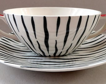 Rare MIDWINTER ZAMBESI Zebra Stripe Twin Handled Cup or Soup Bowl; Each with Matching Saucers