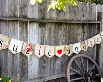 Custom BRIDE GROOM names bunting banner flag...wedding, save-the-date, engagement