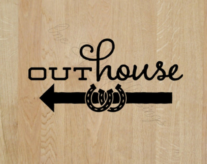 """Outhouse - Left or right Arrow - Wedding Day Fun Decal """"Outhouse"""" Decal -Vinyl Decal Wedding Reception"""