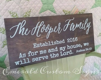 Custom Last Name Sign. Established Name Sign. Personalized Wedding Gift. Bible Verse Art. Bridal Shower Gift. Hand Painted Wooden Wall Art.