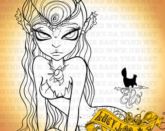 Digital Stamp- Lucy Loo ' mermaid II'- 300dpi JPEG/ PNG -MAC0227