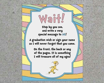 Dr. Seuss Oh The Places You'll Go Graduation Party Greeting Book Sign Printable Digital Download