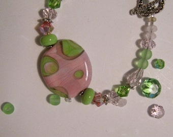 Pink and Green Handmade Lampwork and Crystal Bracelet