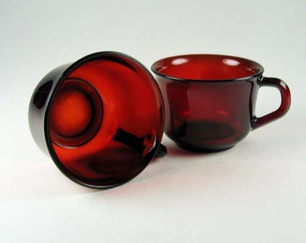 Arcoroc France Ruby Red Set of 2 Mugs Vintage Antique Housewares Retro Collectable Glass