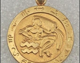 ON SALE Vintage Gold Tone Aquarius Astrology Medallion Pendant