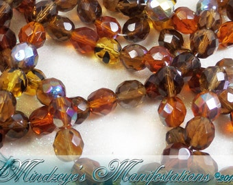 FP Czech Faceted Glass Rounds Topaz 8mm (C955)
