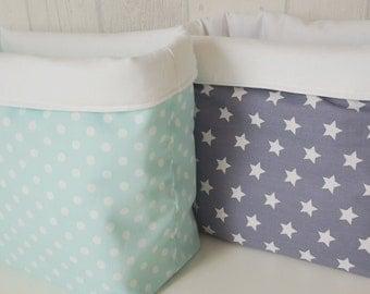 Punnets fabric Körbchen diaper box points grey mint star