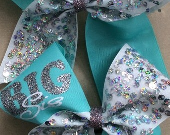 3 inch cheerleader big sis lil sis aqua and silver sequin glitter cheer bow set